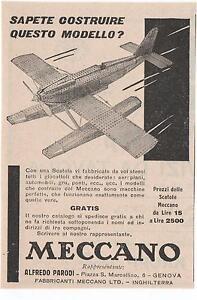 Pubblicita-1952-MECCANO-GIOCATTOLI-AEROPLANO-advert-werbung-publicite-reklame