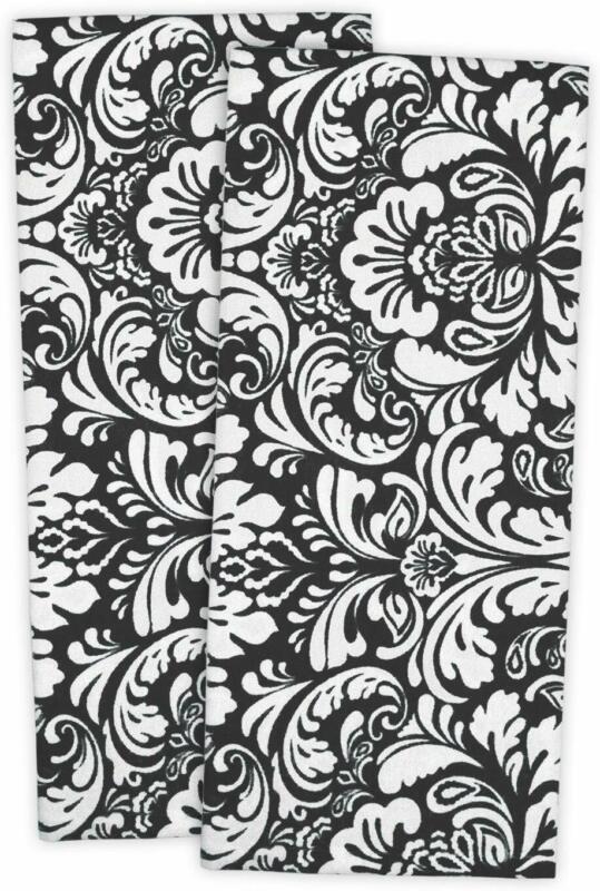 "Kitchen Dish Towels, 28 x 18"" Set of 2,Damask's Cotton, Apro"