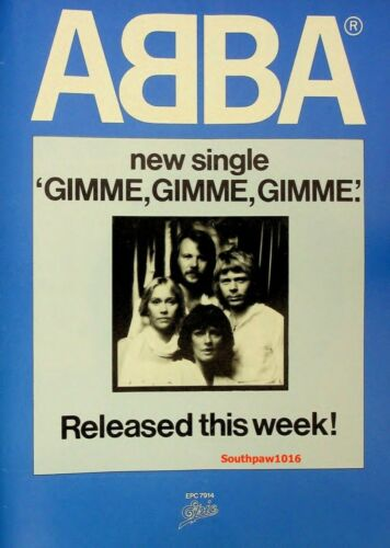 "1979 Abba ""Gimme Gimme Gimme""  Song  Release Music Industry  Promo Ad Reprint"