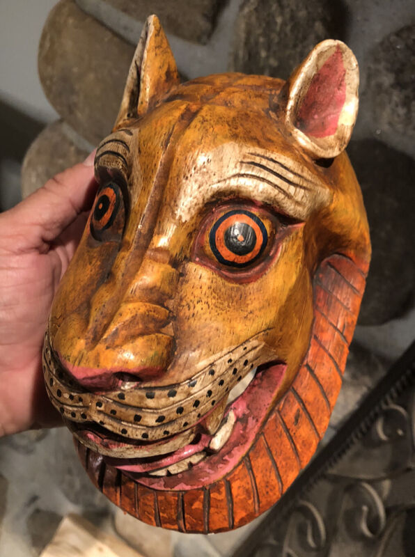 Lion Head Mask Wall Hanging Decor Wooden Hand Made Painted In Nepal