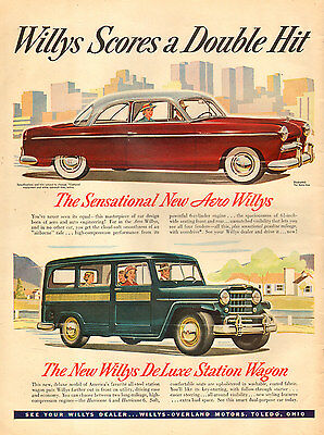 1952 Classic Car AD New Aero Willys and Willys DeLuxe Station Wagon   092416