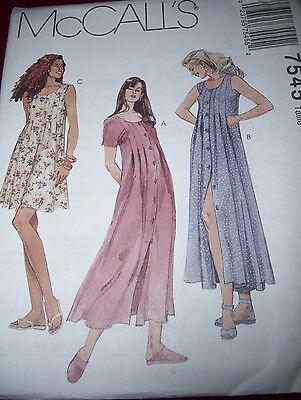 Mccalls  7545 Ladies Short Or Sleeveless Scroop Neckline Dress Pattern 10 20 Ff