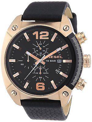 Diesel Authentic Watch DZ4297 Men's OverFlow Black Dial Black Leather Chron 49mm