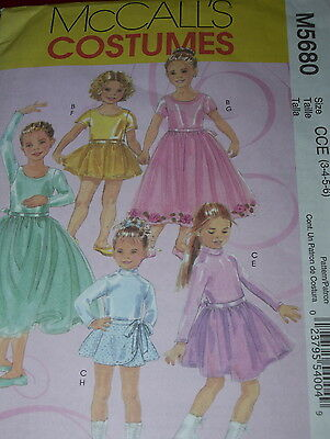 (McCALL'S #M5680 - GIRLS PRETTY BALLERINA - SKATING LEOTARD & SKIRT PATTERN 3-6FF)