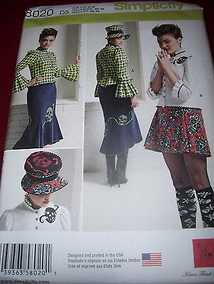 SIMPLICITY 8020-LADIES STEAMPUNK SKIRT & TOP w/MAD HATTER TOP HAT PATTERN 4-20uc