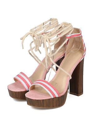- Women Canvas Stripe Rope Open Toe Ankle Wrap Platform Chunky Heel Sandal 18180