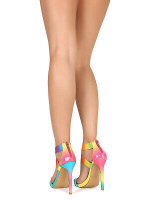 Vamp Open Toe (Women Crisscross Elastic Ankle Vamp Open Toe Heel Sandal 18819 )