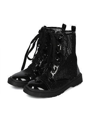 New Women Glitter Mesh Capped Toe Lace Up Combat Boot - 17899 By Cape - Glitter Combat Boots