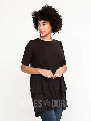 Agnes & Dora™ Tiered Tunic with Half Sleeve Black Baby Suede