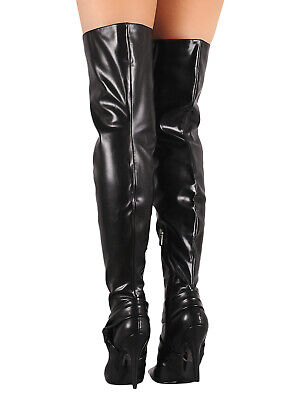 Women Leatherette Knotted Accent Pointy Toe Over-The-Knee Stiletto Boots (Leatherette Accent)