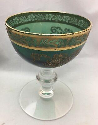 5 Liquor Glasses Tiffin Franciscan Melrose Green Etched Gold Encrusted 17394