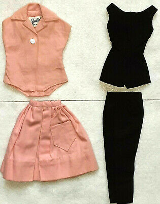 VINTAGE BARBIE PAK SET 4 PIECES BLACK & PINK - SKIRT - TOP - PANTS LOOK!!
