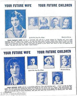 2 Your Future Wife Children 1935 Esco Humor Exhibit Supply Co gag Arcade Cards g