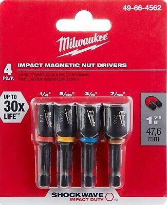 MILWAUKEE 1-7/8 in SHOCKWAVE IMPACT DUTY Magnetic Nut Driver Set Drill Bit 4-pc - Milwaukee Drill Bit Set