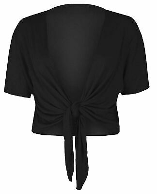 Front Tie Shrug (Womens Short Sleeve Tie Up Front Cardigan Ladies Bolero Shrug Cropped Cardigan)