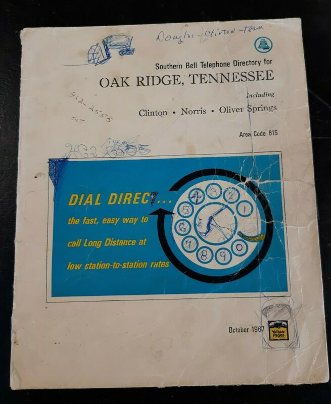 Vintage 1967 Southern Bell Oak Ridge Tennessee Telephone Directory Book