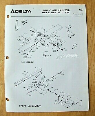 Original Delta 8 Jointer Old Style 37-315 Illustrated Parts List J-3a