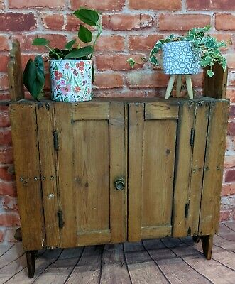 Rustic Antique Pine Wall Cupboard - Cabinet Farmhouse Kitchen Shelving