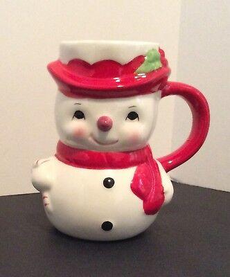 Pottery Barn Snowman Mug Winter Christmas Coffee Hot Chocolate Mug New with Tags