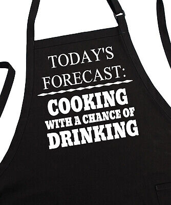 Men's BBQ Aprons Gift Idea Today's Forecast, Fully Adjustable, Two Pockets ()
