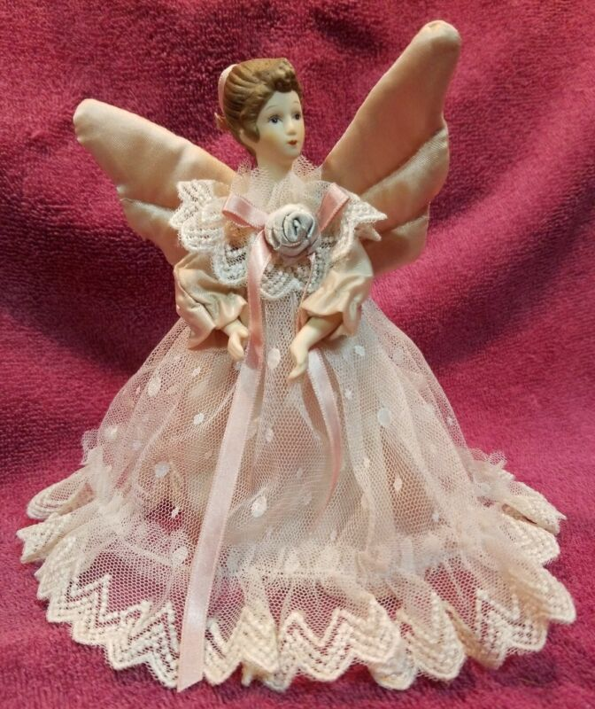 INNOVANON ANGEL TREE TOPPER, PORCELAIN HEAD, ARMS, HANDS, CLOTH WINGS & DRESS