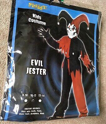 SPIRIT Red & Black EVIL JESTER ZOMBIE Halloween Costume Shirt & Pants Child L - Spirit Halloween Zombie Costumes