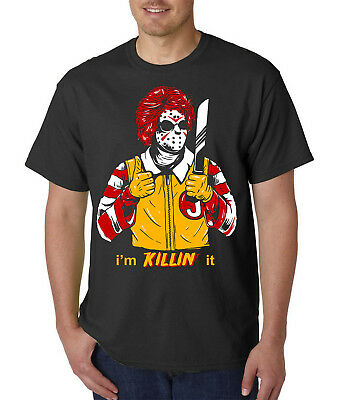 Halloween Film Jason (Jason McVoorhees Killer Clown T-Shirt -Funny Halloween Costume Mask Horror)