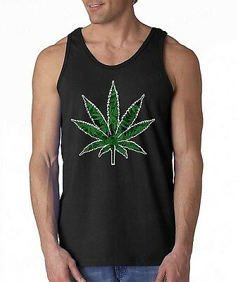 Marijuana Weed Leaf Tank Top Addicted Kush Pot Leaf Cannabis Mens Tee