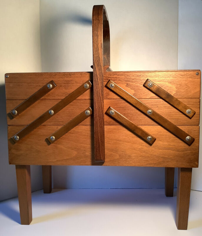 Vintage Mid Century Strommen Bruk Hamar Norway Accordion Style Wood Sewing Box