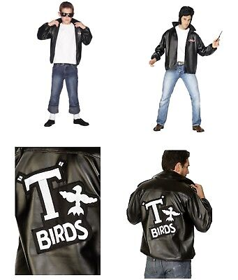 Men's Adults Boy's T-Bird Grease Jacket & Logo 1950's 60's Fancy Dress Costume - 1950s Boy Costume