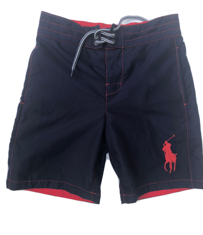 Polo Ralph Lauren Boys Swimming Trunks Navy Embroidered Logo Sz 8 Small Preowned