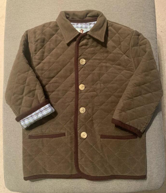 PAPO D'ANJO Oscar De La Renta Quilted Jacket, Lined, Olive Brown Color, Size 8