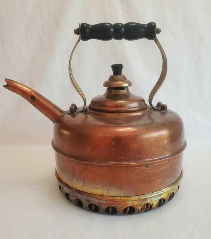 "Vintage ""Simplex"" Patent Kettle Guaranteed Solid Copper With Quick-Boil Coil"