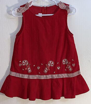 Bonnie Baby Baby Girl's Sz 18M Jumper Red Corduroy Candy Cane Appliqués Bows EUC