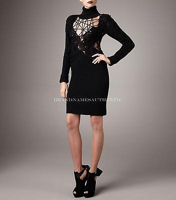 McQ Alexander McQueen Lace Web Wool Sweater Dress 44 NWT