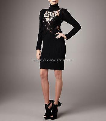 McQ Alexander McQueen Lace Web Wool Sweater Dress Size 44