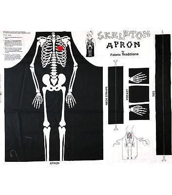 HALLOWEEN SKELETON  APRON  PANEL TO MAKE  100% COTTON  FABRIC  PANEL ](Halloween Panel Fabric)