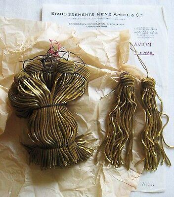 "AMAZING PRICE 6 Vintage/Antique French Dk Gld Metallic Bullion 5"" Tassel Fringe"