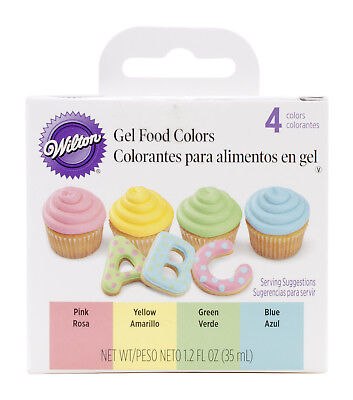 Wilton Primary Gel Food 4-Color Set - Yellow Pink Blue Green Icing Decoration - Wilton Food Coloring