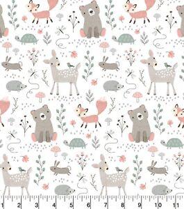 Cotton Nursery Fabric BTHY(1/2YD) - Magic Moon Woodland Animals, Fox, Deer, Bear