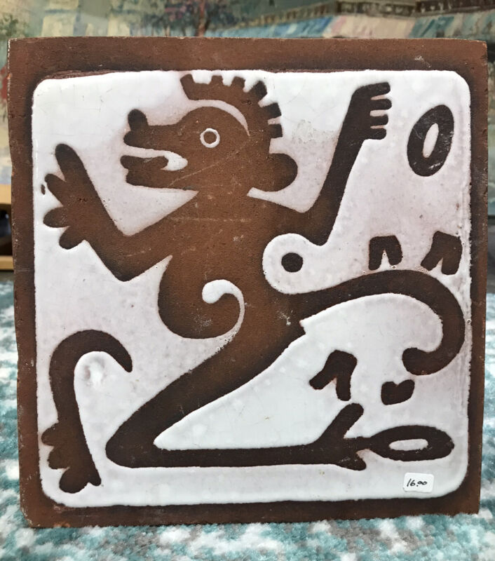 Amazing Vintage Hand Made In Mexico Heavy Ceramic Tile
