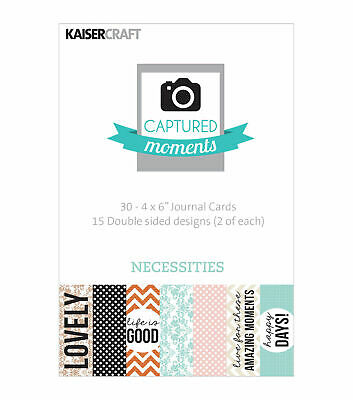 """Kaisercraft Journaling Cards Captured Moments Pocket Page 4""""x6"""" - Necessities"""