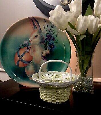 BASKET YELLOW WHITE CERAMIC  WOVEN WEAVE LATTICE HANDLE EASTER](White Easter Basket)