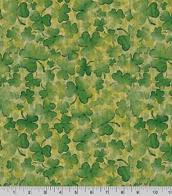 LUCK OF THE IRISH  ST PATRICKS' DAY PRINT 100% COTTON FABRIC  BY THE 1/2 YARD