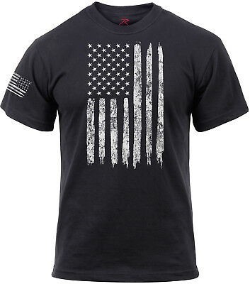 Mens Black Distressed Us Flag American Pride Athletic Muscle T Shirt