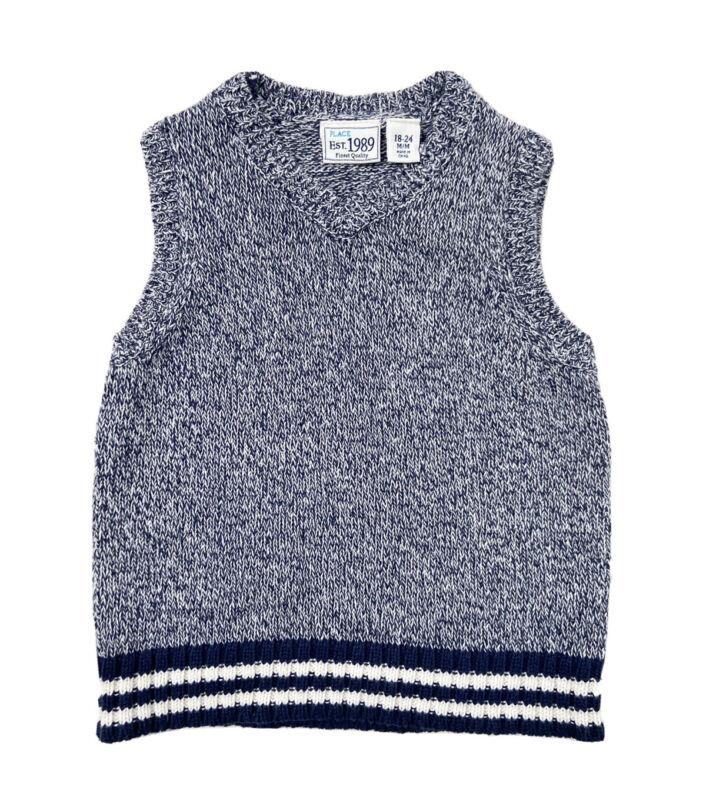 Place Est 1989 Baby Boy 18-24M Sweater Vest Blue White Knit V-neck Cotton