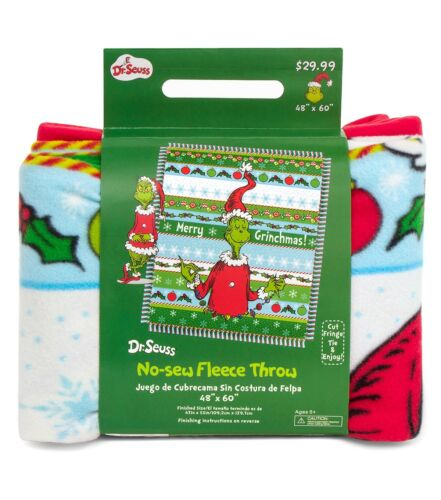 "Dr. Seuss ""Merry Grinchmas"" (Grinch) No-sew Fleece Throw - 48"" x 60"" - NEW"