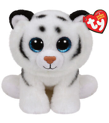 "Ty Beanie Baby Boo's 6"" Tundra White Tiger Stuffed Animal Plush w/ Heart Tags"