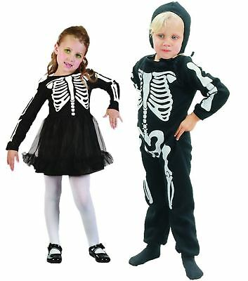 BOYS GIRLS KIDS TODDLER SCARY HALLOWEEN SKELETON FANCY DRESS COSTUME 2-4 YEARS  (Scary Toddler Costume)