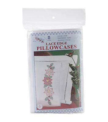 Jack Dempsey Pillowcase Lace - Jack Dempsey Stamped Pillowcases W/White Lace Edge 2/Pkg Poinsettias - NEW